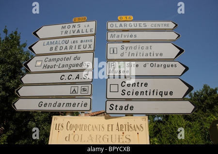 Roadside signpost against a blue sky southern France - Stock Photo