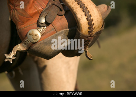 Detail shot of a cowboy spur. - Stock Photo