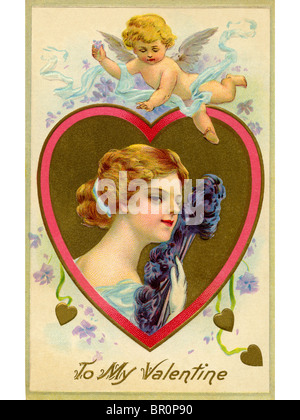 A vintage Valentine card with cupid flying over a woman with a feather fan - Stock Photo