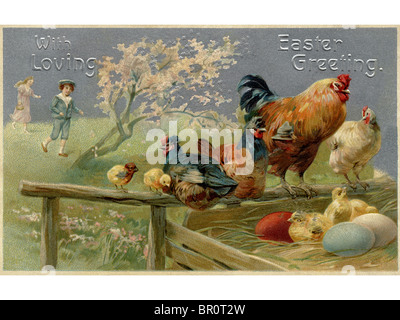 A vintage Easter postcard of chickens and Easter eggs - Stock Photo