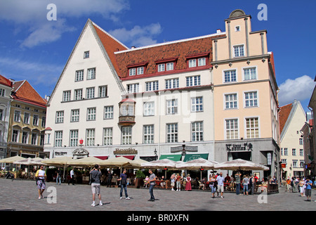 Raekoja Plats, the Town Hall Square in Tallinn, Estonia - Stock Photo