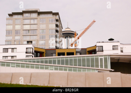 Construction near the Olympic Sculpture Park in Seattle, WA. - Stock Photo