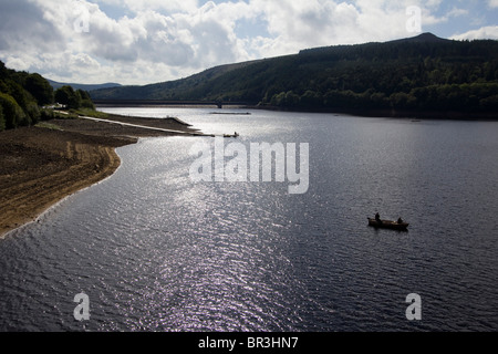 fishing on ladybower reservoir derbyshire england uk gb - Stock Photo