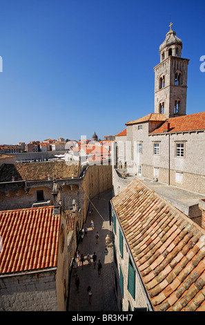 DUBROVNIK, CROATIA. A view of the old town from the walls, with the Dominican monastery and museum on the right. - Stock Photo