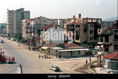 A view of the destruction of Peja, Kosovo. - Stock Photo
