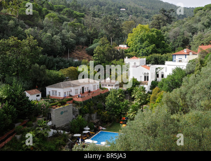 General view of the thermal village of Caldas de Monchique in the Algarve, southern Portugal. - Stock Photo