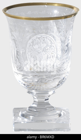 Hermann Göring - a sherry glass, from a hunter's table service. Cut and faceted crystal glass with gold rim (chipped). - Stock Photo