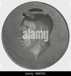 Arno Breker (1900 - 1991) - a portrait medallion of Adolf Hitler, cast iron with black patina. Signed on the neck - Stock Photo