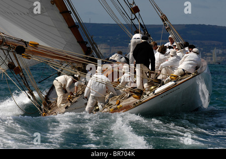 Mariquita under sail during Round the Island Race, The British Classic Yacht Club Regatta, Cowes Classic Week, July - Stock Photo