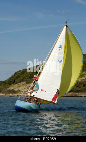 Leonie under sail during Round the Island Race, The British Classic Yacht Club Regatta, Cowes Classic Week, July - Stock Photo