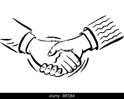 A handshake shown in black and white - Stock Photo