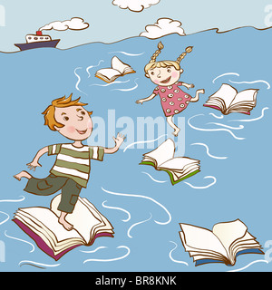 Two children hopping across floating books in the sea - Stock Photo