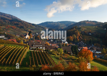 View over Sasbachwalden in autumn, Sasbachwalden, Baden-Wurttemberg, Germany - Stock Photo