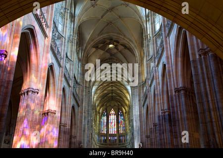St. Vitus cathedral in Prague - interior - Stock Photo