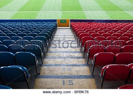 Empty football stadium - Stock Photo