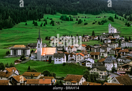 Village of Balzers in Liechtenstein in the mountains in the small country next to Switzerland - Stock Photo
