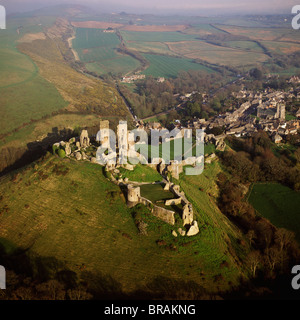 Aerial image of Corfe Castle, Purbeck Hills, between Wareham and Swanage, Dorset, England, United Kingdom, Europe - Stock Photo