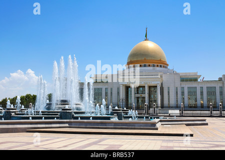 Turkmenistan - Ashgabat - the Turkmenbashi Palace in Independence Square - Stock Photo