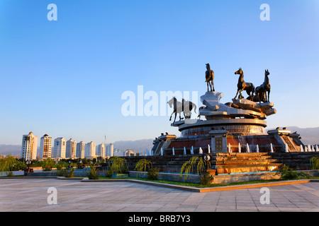 Turkmenistan - Ashgabat - Berzengi - the monument to 10 years of Independence - Stock Photo