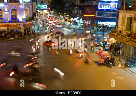 Busy traffic, Hanoi, Vietnam, Indochina, Southeast Asia, Asia - Stock Photo