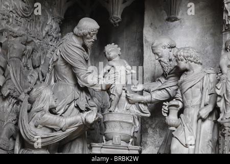 Statues around the chancel, Notre Dame de Chartres Cathedral, UNESCO World Heritage Site, Chartres, Eure-et-Loir, - Stock Photo