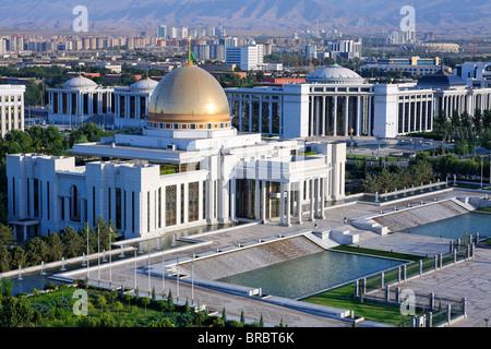 Turkmenistan - Ashgabat - the Palace of Turkmenbashi in Independence Square - Stock Photo