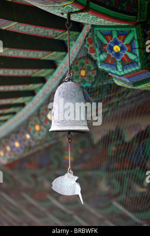 The fish-shaped chime on the Buddhist wind bell, honors those creatures which never close their eyes, Seoul, South - Stock Photo
