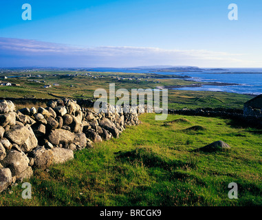 Bloody Foreland, Co Donegal, Ireland; Stone Wall And Landscape On A Headland - Stock Photo
