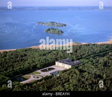 Aerial picture, Herrenchiemsee Castle, Frauenchiemsee Island in the back, Lake Chiemsee, Chiemgau, Upper Bavaria - Stock Photo