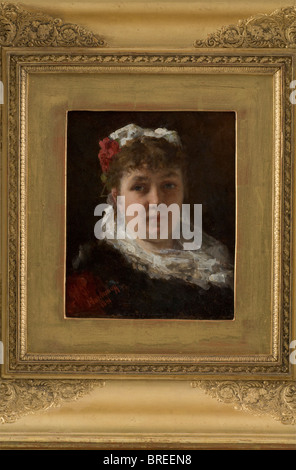 Alexei Alexeievich Harlamoff (1842 - 1925), a portrait of Félia Litvinne, dated 1881 Oil on mahogany. Signed and - Stock Photo
