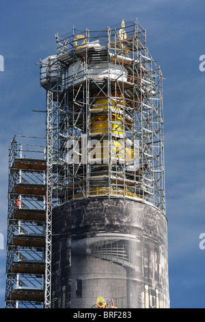 column of Roman goddess of victory in Berlin under reconstruction in September 2010; Siegessäule - Stock Photo