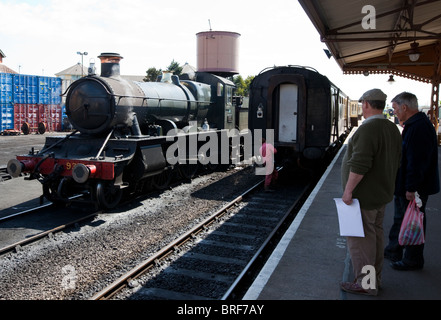 Steam Train Minehead Railway Station West Somerset Railway Minehead Somerset UK Europe - Stock Photo