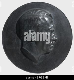 Arno Breker (1900 -1991), a portrait medallion of Adolf Hitler Bronze, deep green patina. No date, unsigned, diameter - Stock Photo