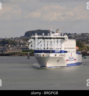 MV Armorique a roro Brittany Ferries company ferry inbound to Plymouth ferry terminal seen here on Plymouth Sound - Stock Photo