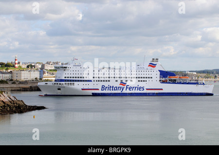 MV Armorique a roro Brittany Ferries company ferry inbound to Plymouth ferry port entrance with a backdrop off Plymouth - Stock Photo