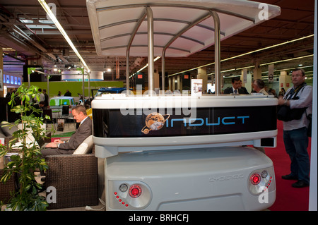 Paris, France, Paris Car Show Electric Cars, Le Cybergo, Moveo, Automatic People Mover - Stock Photo