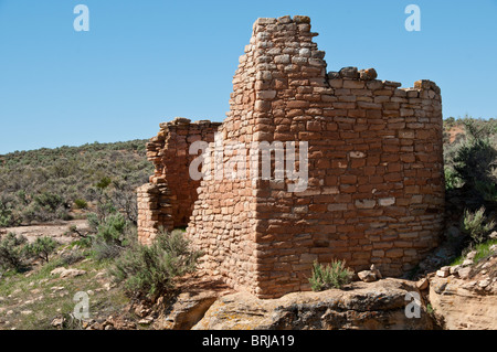 Hovenweep House, Square Tower Unit, Little Ruin Canyon, Hovenweep National Monument east of Blanding, Utah. - Stock Photo
