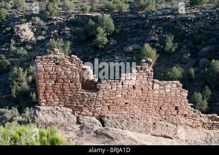 Stronghold House, Square Tower Unit, Little Ruin Canyon, Hovenweep National Monument east of Blanding, Utah. - Stock Photo