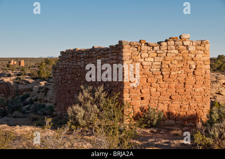 Rim Rock House, Square Tower Unit, Little Ruin Canyon, Hovenweep National Monument east of Blanding, Utah. - Stock Photo