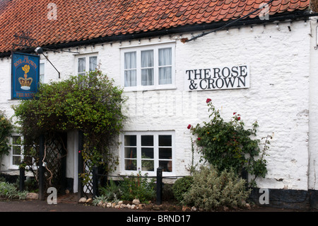 The Rose & Crown pub in the village of Snettisham, Norfolk, England - Stock Photo