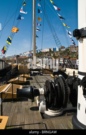 dh SS Great Britain BRISTOL DOCKS BRISTOL SS Great Britain ship deck rigging masts and ships winches - Stock Photo