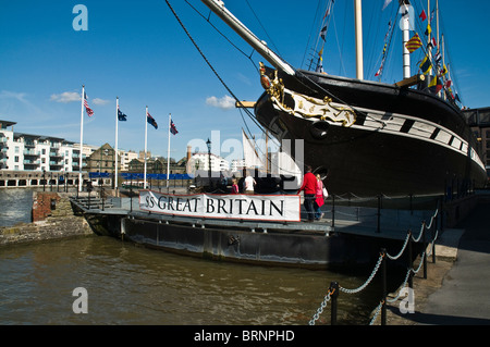 dh SS Great Britain BRISTOL DOCKS BRISTOL Tourists SS Great Britain ships maritme museum steamship in drydock - Stock Photo