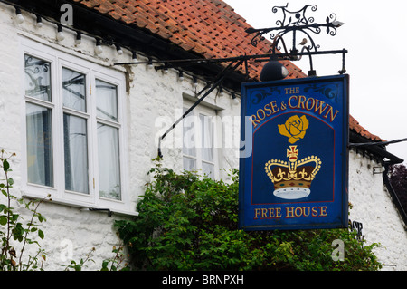 The sign on the Rose & Crown pub in the village of Snettisham, Norfolk, England - Stock Photo