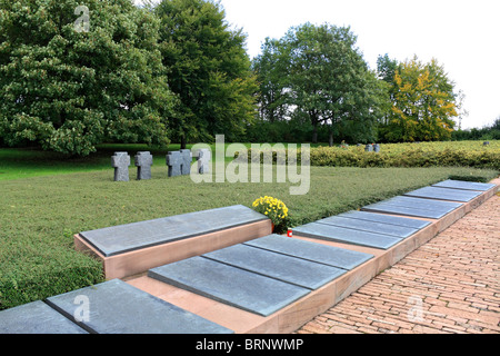 German First World War Cemetery of Consenvoye along the east bank of Meuse river, north of Verdun, France. - Stock Photo