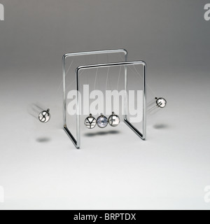 Newton's Cradle with currency symbols. $ and € are in motion - Stock Photo