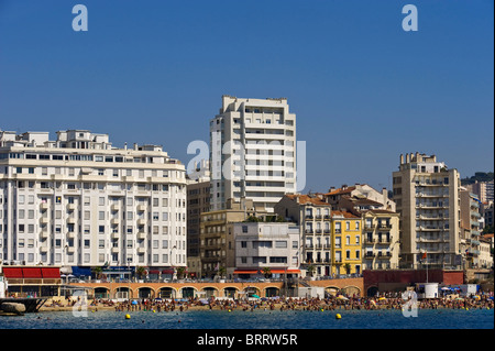 Beach in front of multistory buildings in Marseille, Provence Cote d' Azur, France - Stock Photo