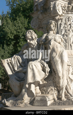 Detail of the monument to Goethe, Villa Borghese, Rome - Stock Photo