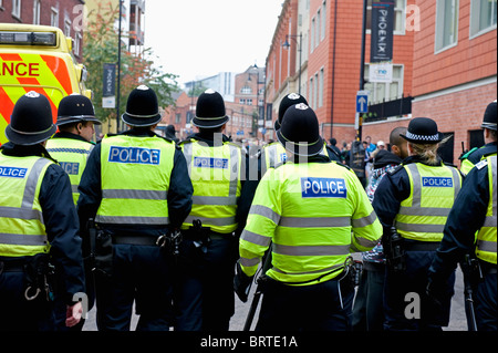 Policing The English Defence League demonstration in Leicester. 9th October 2010. - Stock Photo