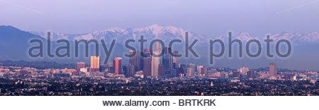 Los Angeles Skyline Winter Panoramic - Stock Photo