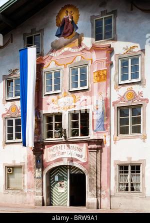 Inn, Alter Wirt, German for Old Host or Publican, Eschenlohe, Upper Bavaria, Bavaria, Germany, Europe - Stock Photo